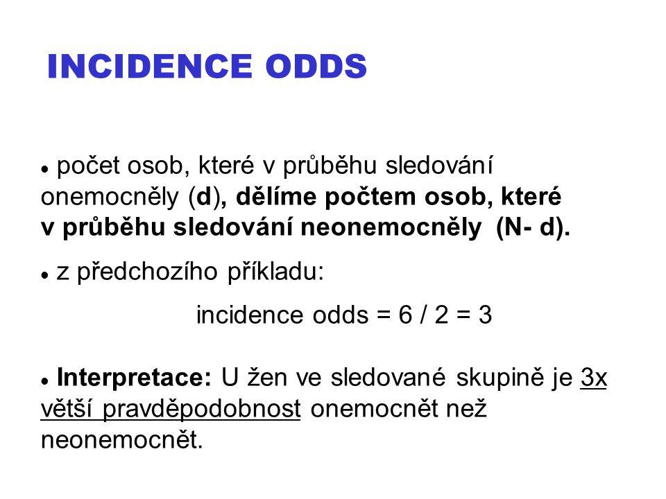 počet osob, které v průběhu sledování onemocněly (d), dělíme počtem osob, které v průběhu sledování neonemocněly (N- d). z předchozího příkladu: incid