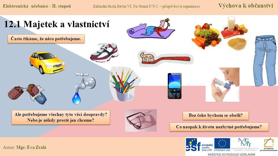 Autor: Mgr. Eva Zralá 12.1 Majetek a vlastnictví Elektronická učebnice - II. stupeň Základní škola Děčín VI, Na Stráni 879/2 – příspěvková organizace