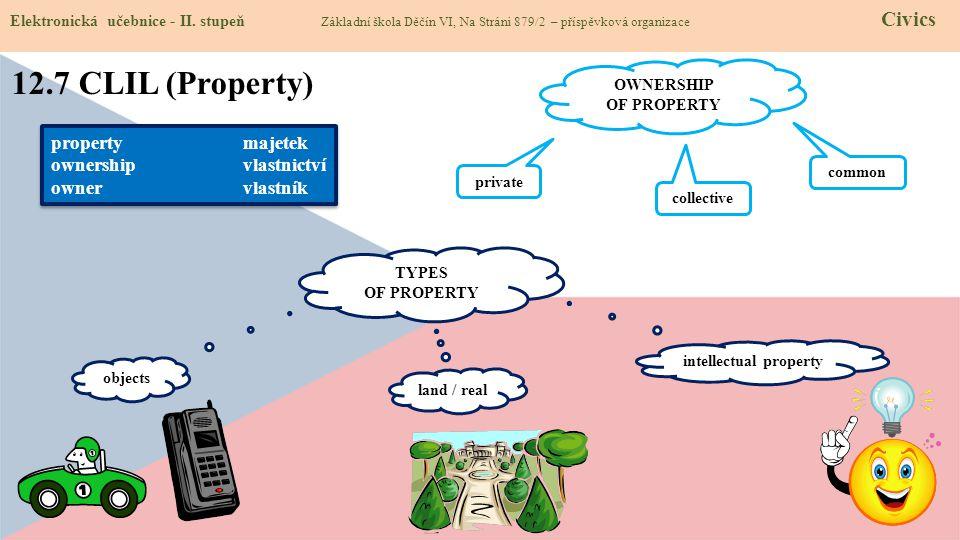 12.7 CLIL (Property) Elektronická učebnice - II. stupeň Základní škola Děčín VI, Na Stráni 879/2 – příspěvková organizace Civics propertymajetek owner