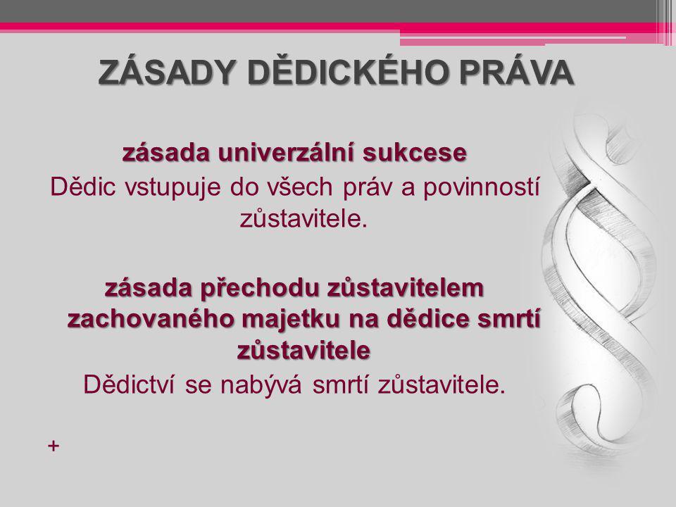 ZÁSADY DĚDICKÉHO PRÁVA zásada univerzální sukcese Dědic vstupuje do všech práv a povinností zůstavitele. zásada přechodu zůstavitelem zachovaného maje
