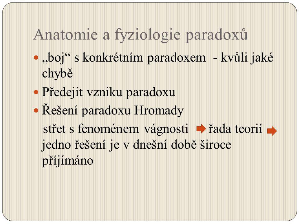 """Anatomie a fyziologie paradoxů """"boj"""" s konkrétním paradoxem - kvůli jaké chybě Předejít vzniku paradoxu Řešení paradoxu Hromady střet s fenoménem vágn"""