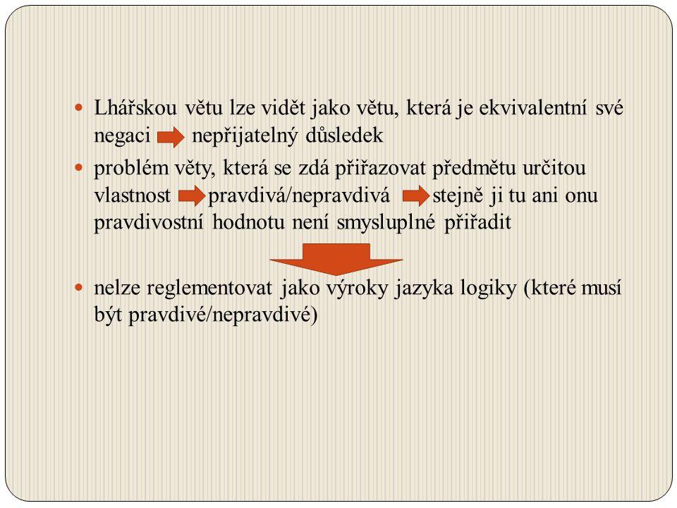 Lhářskou větu lze vidět jako větu, která je ekvivalentní své negaci nepřijatelný důsledek problém věty, která se zdá přiřazovat předmětu určitou vlast