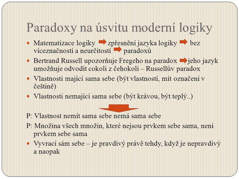 Paradoxy na úsvitu moderní logiky Matematizace logiky zpřesnění jazyka logiky bez víceznačností a neurčitostí paradoxů Bertrand Russell upozorňuje Fre