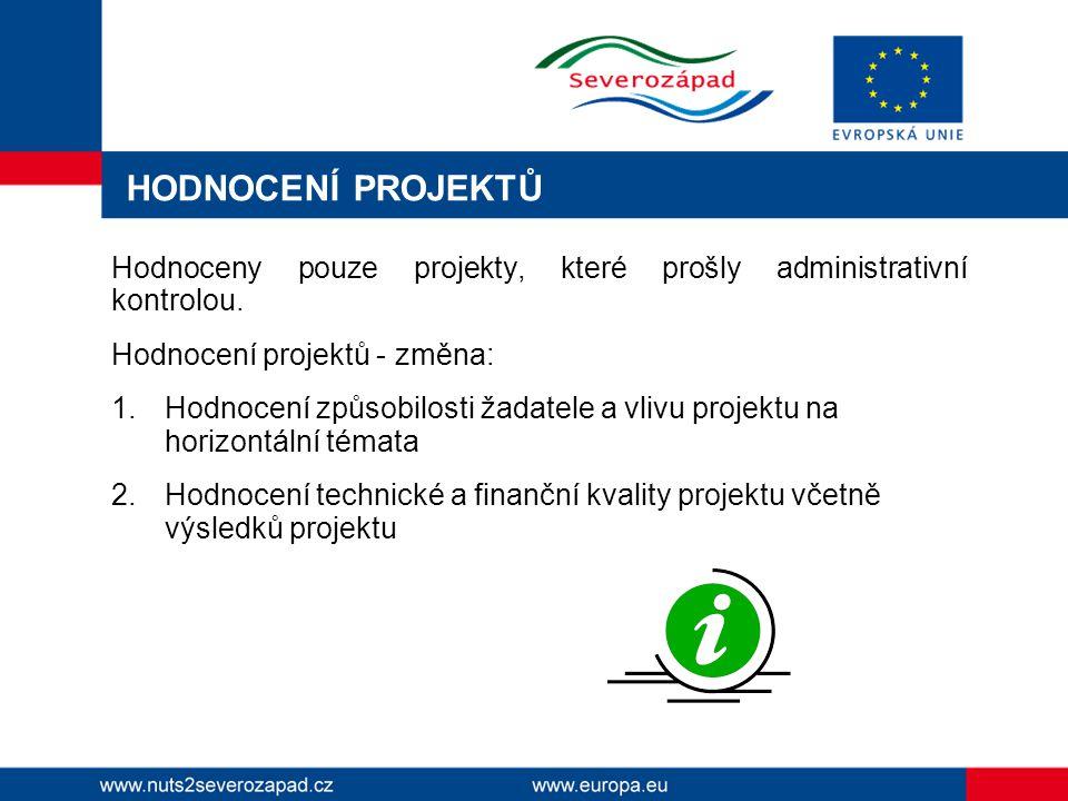 HODNOCENÍ PROJEKTŮ Hodnoceny pouze projekty, které prošly administrativní kontrolou.
