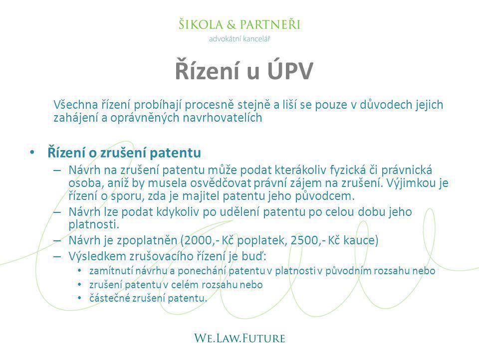 Všechna řízení probíhají procesně stejně a liší se pouze v důvodech jejich zahájení a oprávněných navrhovatelích Řízení o zrušení patentu – Návrh na z