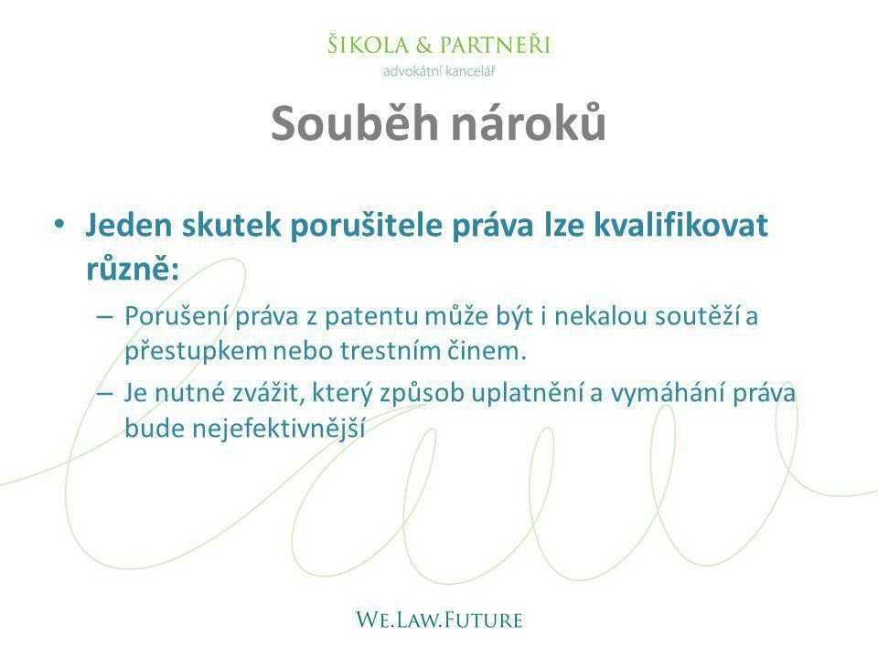 Souběh nároků Jeden skutek porušitele práva lze kvalifikovat různě: – Porušení práva z patentu může být i nekalou soutěží a přestupkem nebo trestním č