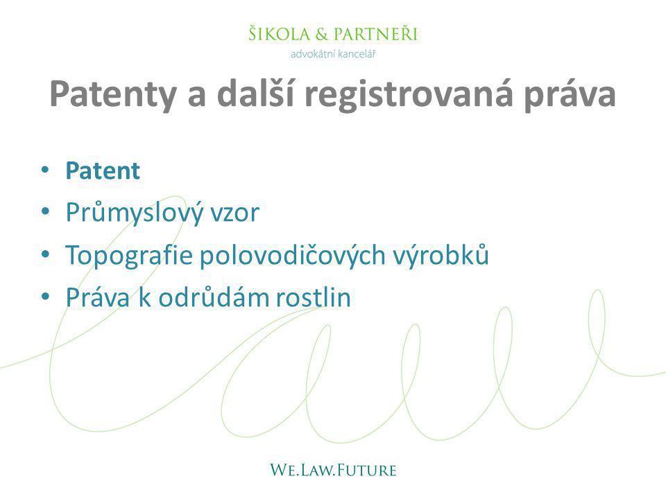 Patenty a další registrovaná práva Patent Průmyslový vzor Topografie polovodičových výrobků Práva k odrůdám rostlin