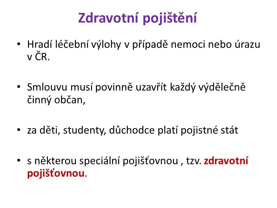 Zdravotní pojištění Hradí léčební výlohy v případě nemoci nebo úrazu v ČR.