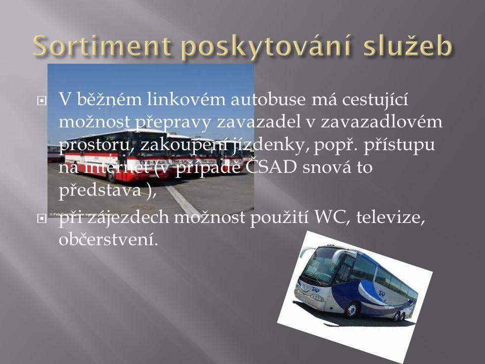  V běžném linkovém autobuse má cestující možnost přepravy zavazadel v zavazadlovém prostoru, zakoupení jízdenky, popř. přístupu na internet (v případ