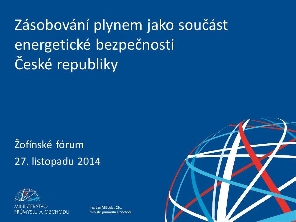 Ing. Jan Mládek, CSc. ministr průmyslu a obchodu Zásobování plynem jako součást energetické bezpečnosti České republiky Žofínské fórum 27. listopadu 2