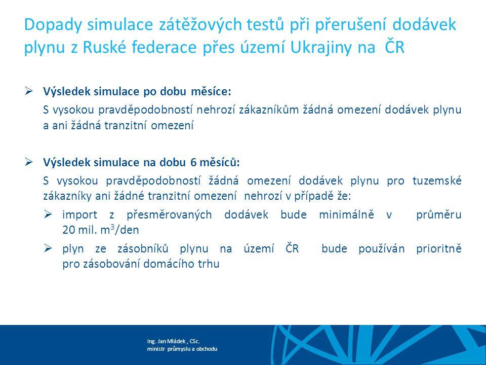 Ing. Jan Mládek, CSc. ministr průmyslu a obchodu Dopady simulace zátěžových testů při přerušení dodávek plynu z Ruské federace přes území Ukrajiny na