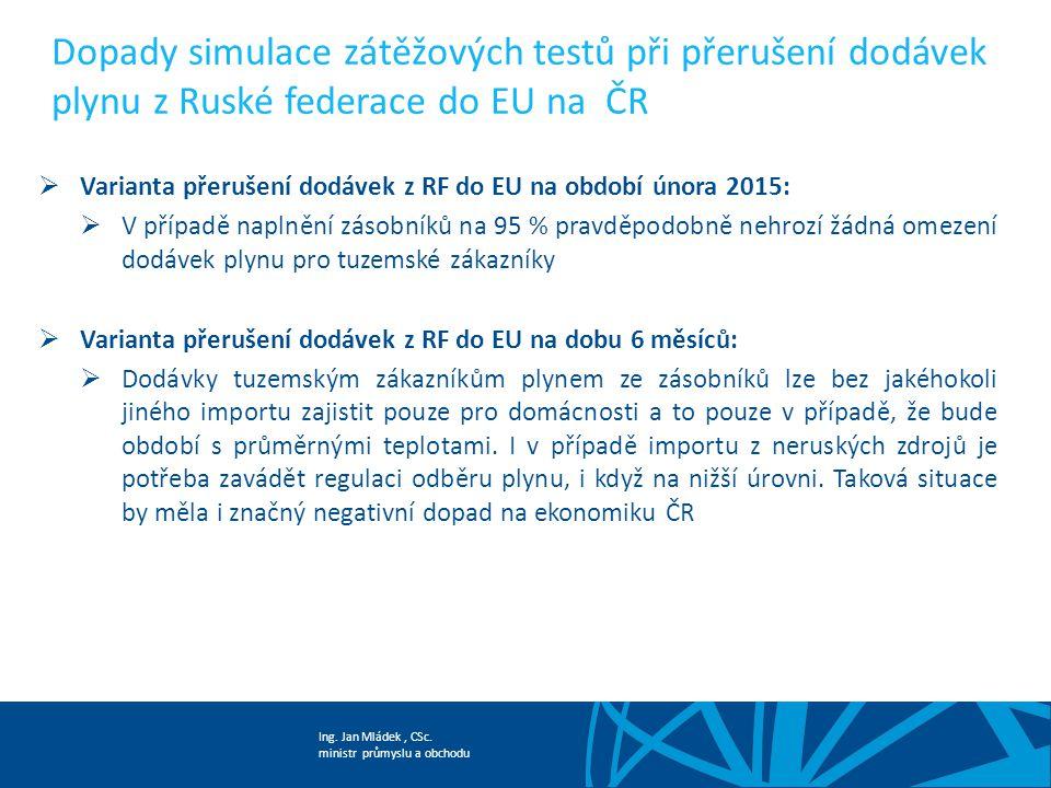 Ing. Jan Mládek, CSc. ministr průmyslu a obchodu Dopady simulace zátěžových testů při přerušení dodávek plynu z Ruské federace do EU na ČR  Varianta