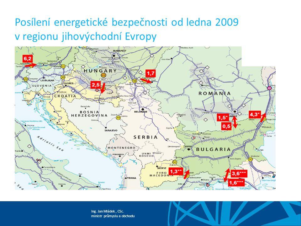 Ing. Jan Mládek, CSc. ministr průmyslu a obchodu Posílení energetické bezpečnosti od ledna 2009 v regionu jihovýchodní Evropy