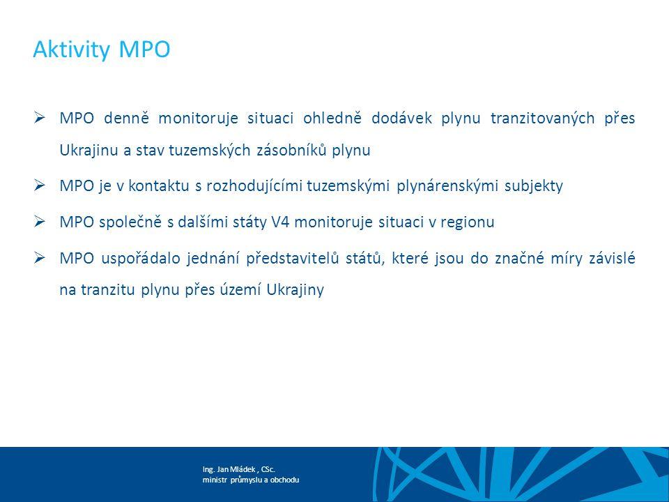 Ing. Jan Mládek, CSc. ministr průmyslu a obchodu Aktivity MPO  MPO denně monitoruje situaci ohledně dodávek plynu tranzitovaných přes Ukrajinu a stav