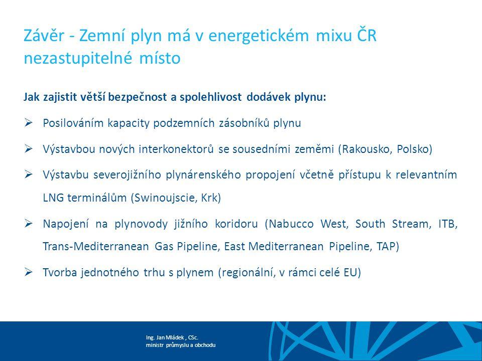 Ing. Jan Mládek, CSc. ministr průmyslu a obchodu Závěr - Zemní plyn má v energetickém mixu ČR nezastupitelné místo Jak zajistit větší bezpečnost a spo