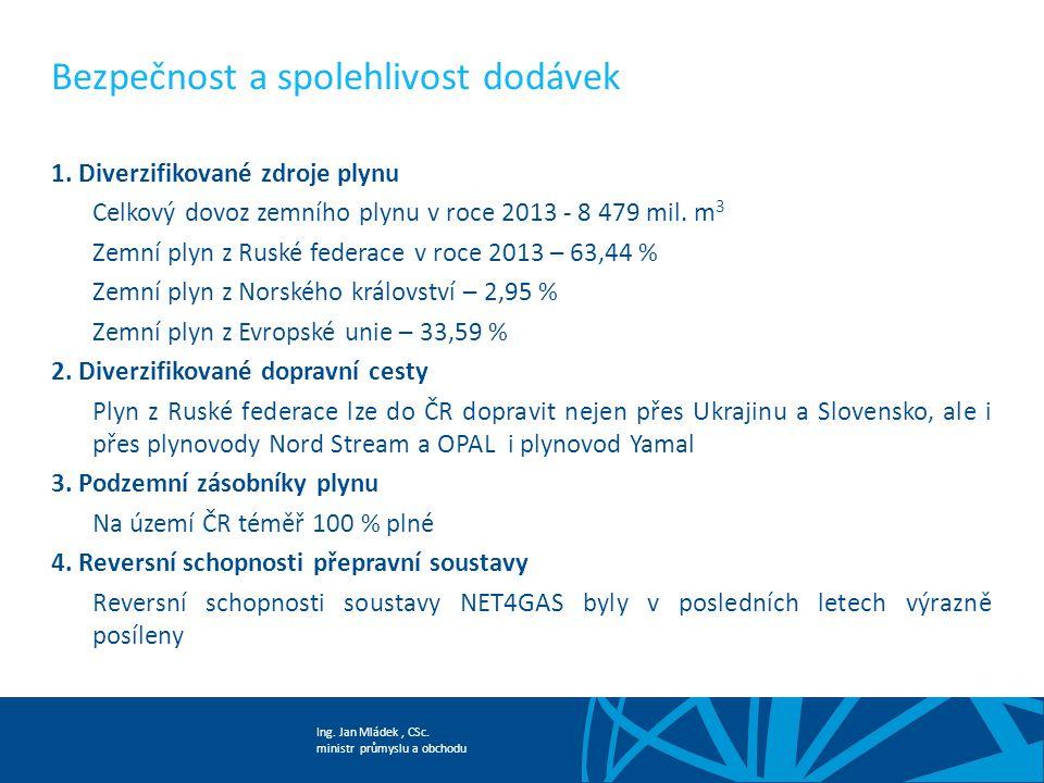 Ing. Jan Mládek, CSc. ministr průmyslu a obchodu Bezpečnost a spolehlivost dodávek 1. Diverzifikované zdroje plynu Celkový dovoz zemního plynu v roce