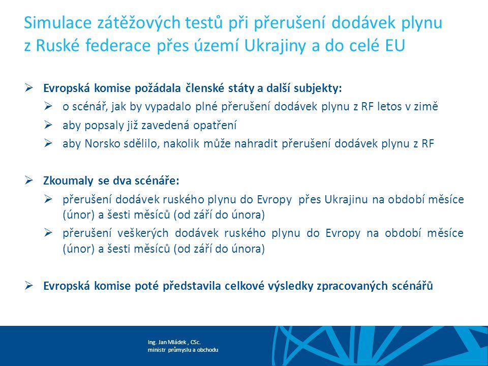 Ing. Jan Mládek, CSc. ministr průmyslu a obchodu Simulace zátěžových testů při přerušení dodávek plynu z Ruské federace přes území Ukrajiny a do celé
