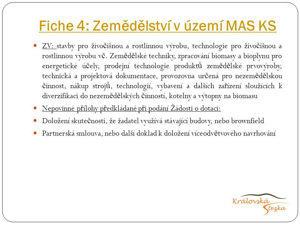 Fiche 4: Zemědělství v území MAS KS ZV: stavby pro živo č išnou a rostlinnou výrobu, technologie pro živo č išnou a rostlinnou výrobu v č.