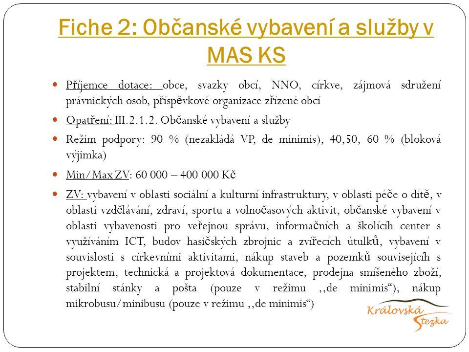 Kritéria přijatelnosti Projekt je realizován na území p ů sobnosti MAS Projekt musí spl ň ovat ú č el a rozsah p ř íslušné Fiche a musí být v souladu s Pravidly IV.1.2.