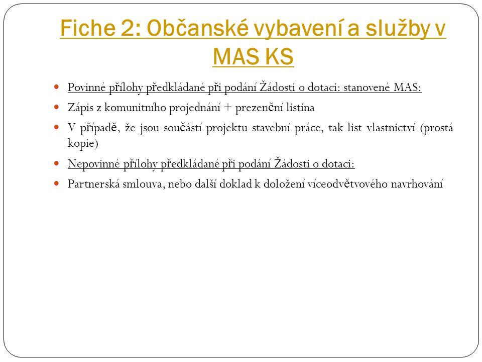 Fiche 2: Občanské vybavení a služby v MAS KS Povinné p ř ílohy p ř edkládané p ř i podání Žádosti o dotaci: stanovené MAS: Zápis z komunitního projedn