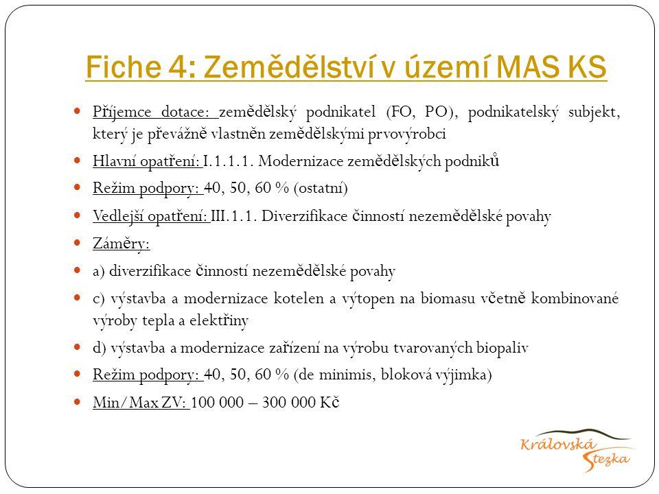 Fiche 4: Zemědělství v území MAS KS P ř íjemce dotace: zem ě d ě lský podnikatel (FO, PO), podnikatelský subjekt, který je p ř evážn ě vlastn ě n zem
