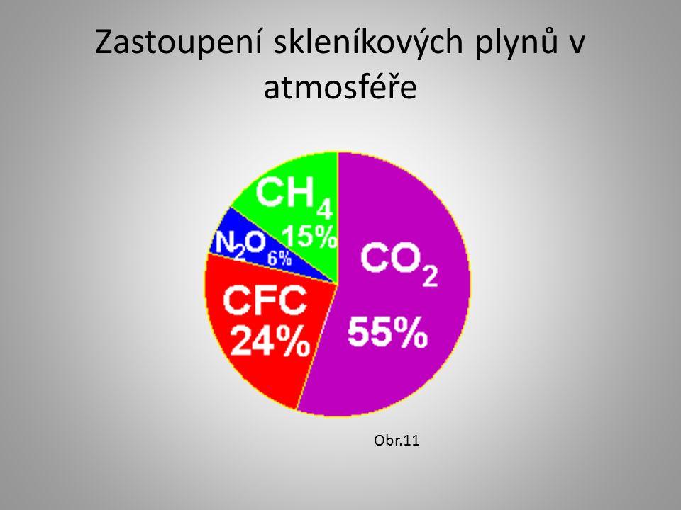 Zastoupení skleníkových plynů v atmosféře Obr.11