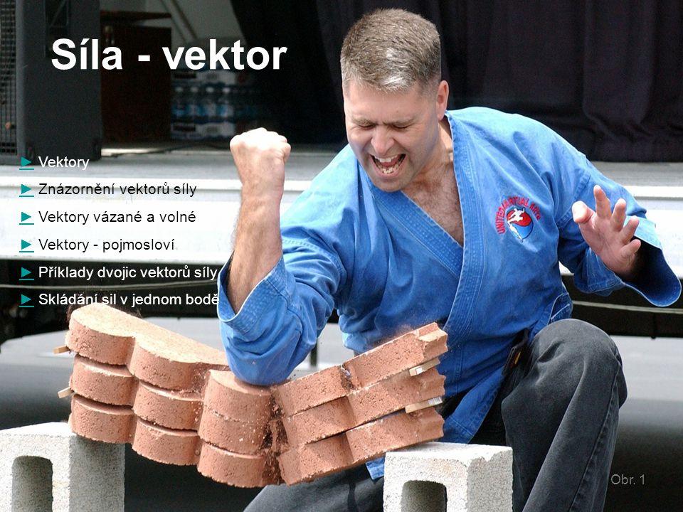 Síla - vektor ►► Vektory ►► Znázornění vektorů síly ►► Vektory vázané a volné ►► Vektory - pojmosloví ►► Příklady dvojic vektorů síly ►► Skládání sil
