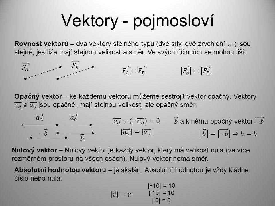 Vektory - pojmosloví Rovnost vektorů – dva vektory stejného typu (dvě síly, dvě zrychlení …) jsou stejné, jestliže mají stejnou velikost a směr. Ve sv