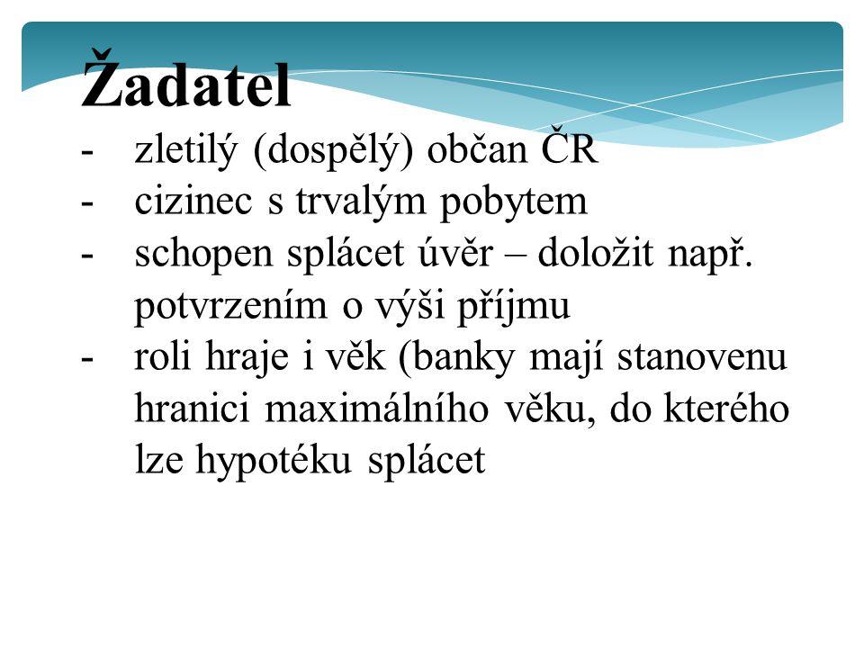 Žadatel -zletilý (dospělý) občan ČR -cizinec s trvalým pobytem -schopen splácet úvěr – doložit např.