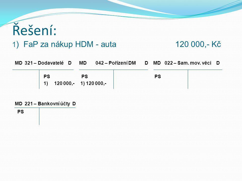 Řešení: 1 ) FaP za nákup HDM - auta 120 000,- Kč MD 321 – Dodavatelé D MD 042 – Pořízení DM D MD 022 – Sam.