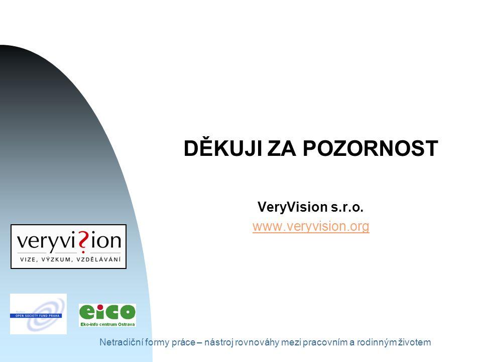 Netradiční formy práce – nástroj rovnováhy mezi pracovním a rodinným životem DĚKUJI ZA POZORNOST VeryVision s.r.o.