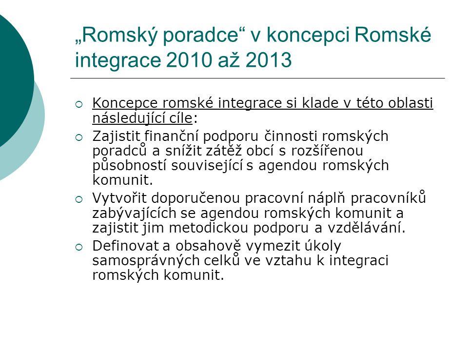 """""""Romský poradce"""" v koncepci Romské integrace 2010 až 2013  Koncepce romské integrace si klade v této oblasti následující cíle:  Zajistit finanční po"""