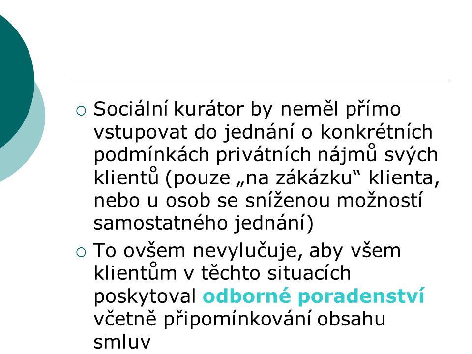 """ Sociální kurátor by neměl přímo vstupovat do jednání o konkrétních podmínkách privátních nájmů svých klientů (pouze """"na zákázku"""" klienta, nebo u oso"""