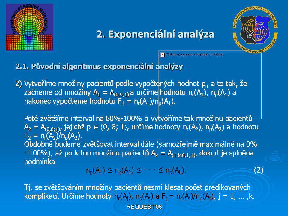 REQUEST'06 2. Exponenciální analýza 2.1. Původní algoritmus exponenciální analýzy 2) 2) Vytvoříme množiny pacientů podle vypočtených hodnot p i, a to