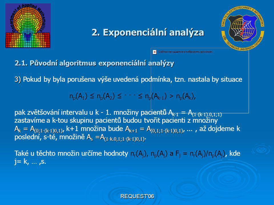 REQUEST'06 2. Exponenciální analýza 2.1. Původní algoritmus exponenciální analýzy 3) 3) Pokud by byla porušena výše uvedená podmínka, tzn. nastala by