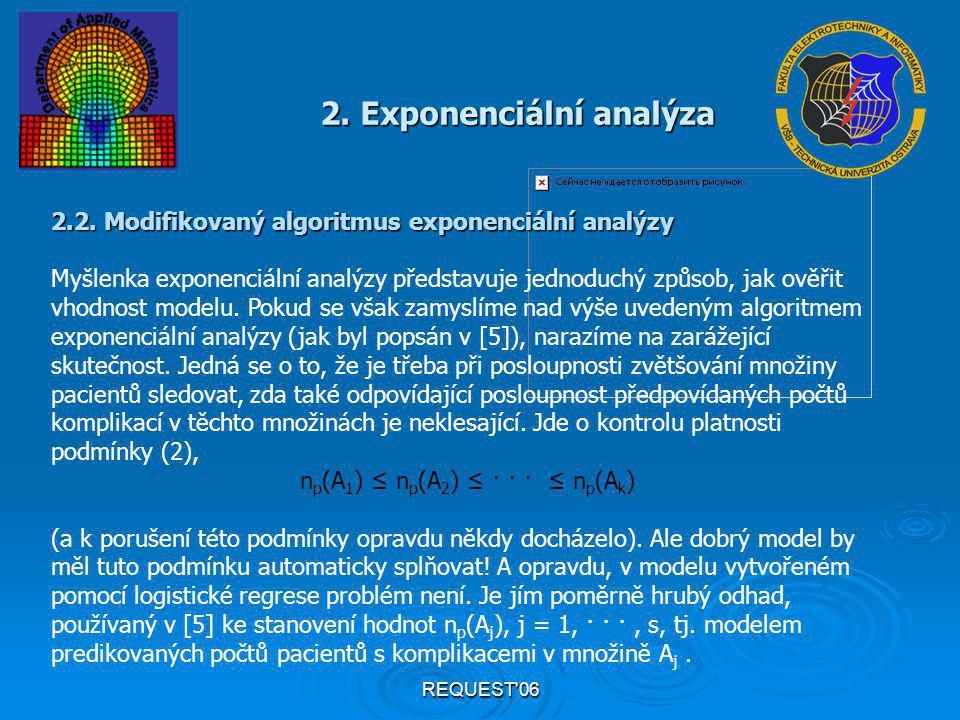 REQUEST'06 2. Exponenciální analýza 2.2. Modifikovaný algoritmus exponenciální analýzy Myšlenka exponenciální analýzy představuje jednoduchý způsob, j
