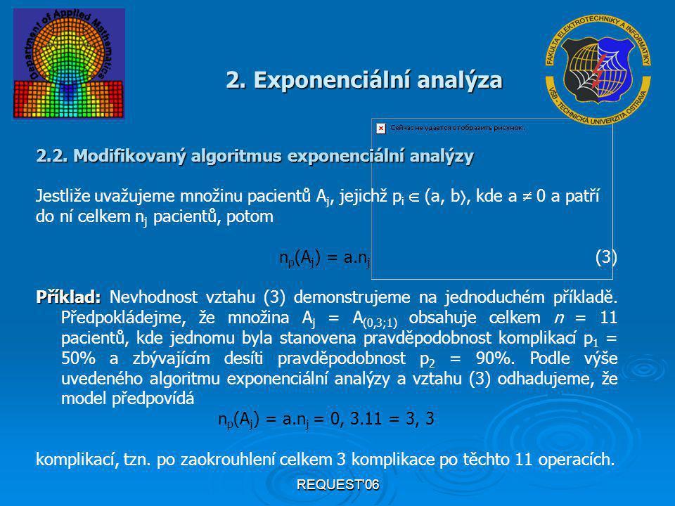REQUEST'06 2. Exponenciální analýza 2.2. Modifikovaný algoritmus exponenciální analýzy Jestliže uvažujeme množinu pacientů A j, jejichž p i  (a, b ,