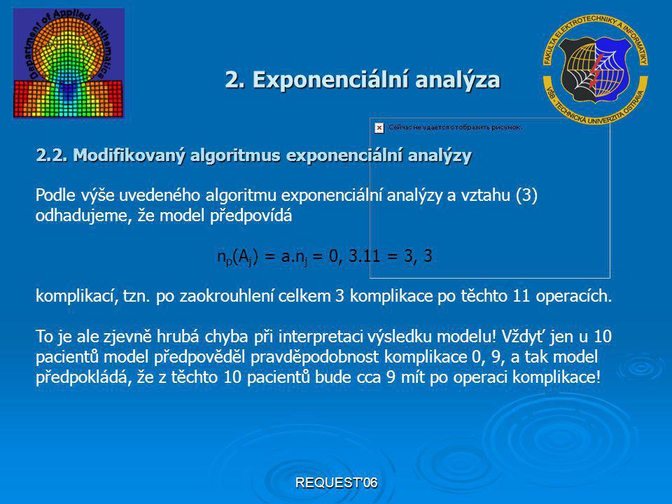 REQUEST'06 2. Exponenciální analýza 2.2. Modifikovaný algoritmus exponenciální analýzy Podle výše uvedeného algoritmu exponenciální analýzy a vztahu (