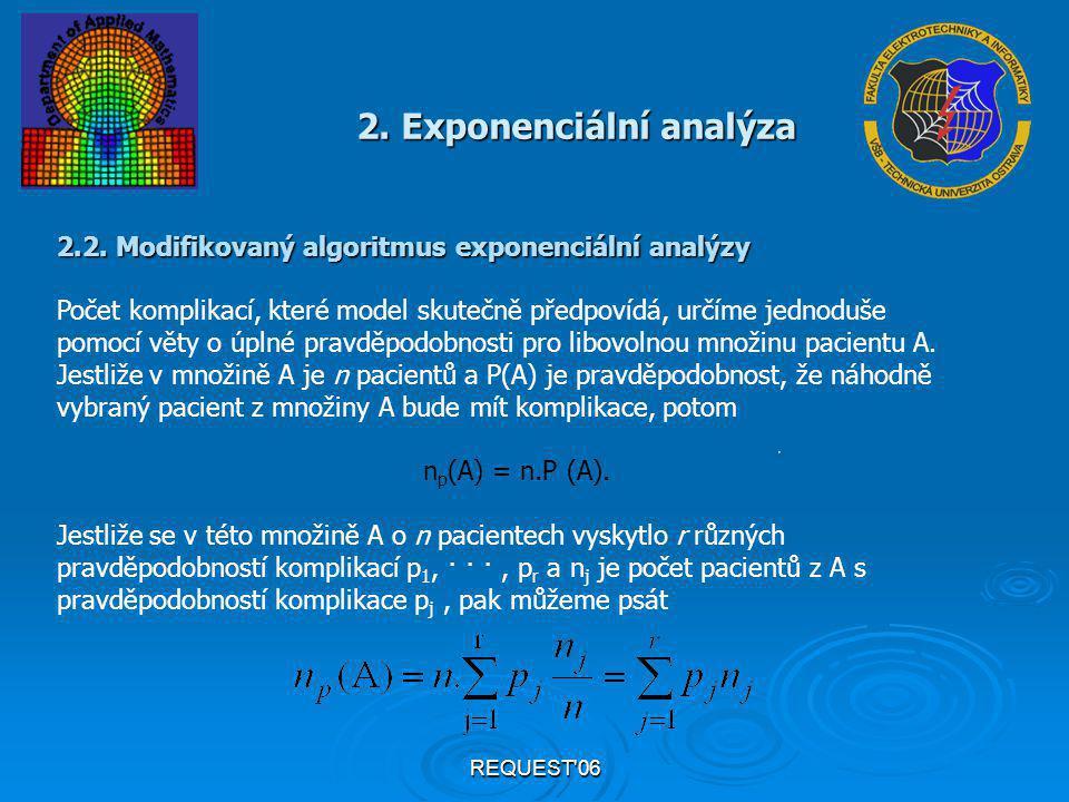 REQUEST'06 2. Exponenciální analýza 2.2. Modifikovaný algoritmus exponenciální analýzy Počet komplikací, které model skutečně předpovídá, určíme jedno