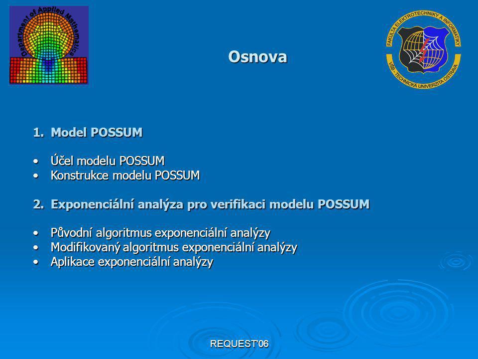REQUEST'06 Osnova 1.Model POSSUM Účel modelu POSSUMÚčel modelu POSSUM Konstrukce modelu POSSUMKonstrukce modelu POSSUM 2.Exponenciální analýza pro ver
