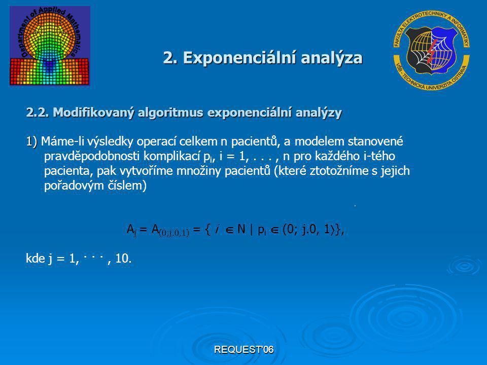 REQUEST'06 2. Exponenciální analýza 2.2. Modifikovaný algoritmus exponenciální analýzy 1) 1) Máme-li výsledky operací celkem n pacientů, a modelem sta