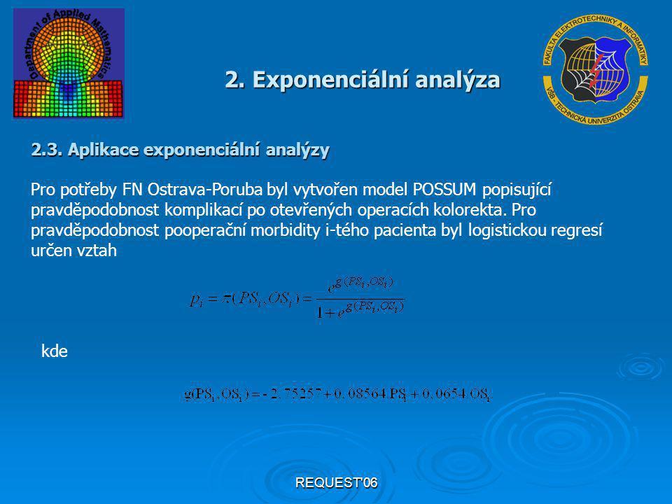 REQUEST'06 2. Exponenciální analýza 2.3. Aplikace exponenciální analýzy Pro potřeby FN Ostrava-Poruba byl vytvořen model POSSUM popisující pravděpodob