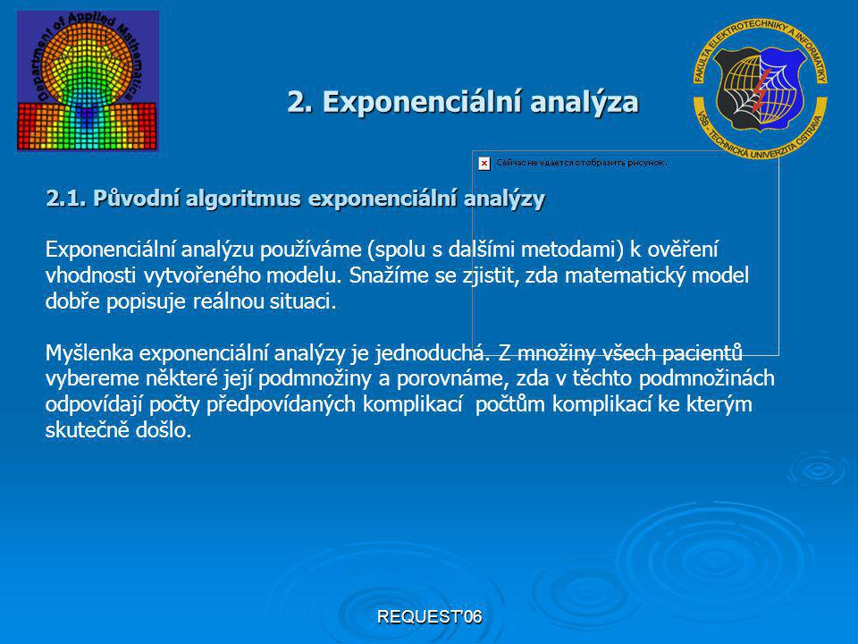 REQUEST'06 2. Exponenciální analýza 2.1. Původní algoritmus exponenciální analýzy Exponenciální analýzu používáme (spolu s dalšími metodami) k ověření