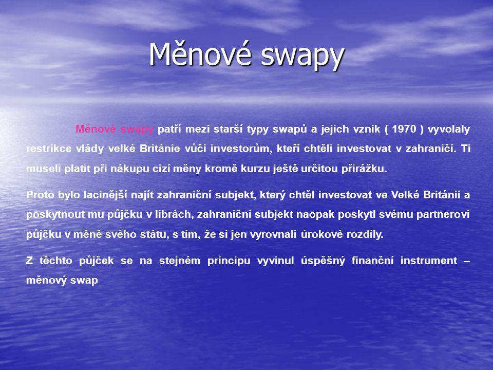 Měnové swapy Měnové swapy patří mezi starší typy swapů a jejich vznik ( 1970 ) vyvolaly restrikce vlády velké Británie vůči investorům, kteří chtěli investovat v zahraničí.