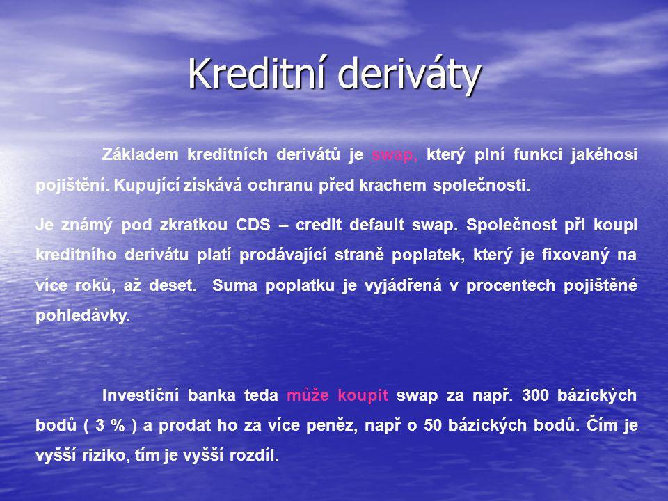 Kreditní deriváty Základem kreditních derivátů je swap, který plní funkci jakéhosi pojištění.
