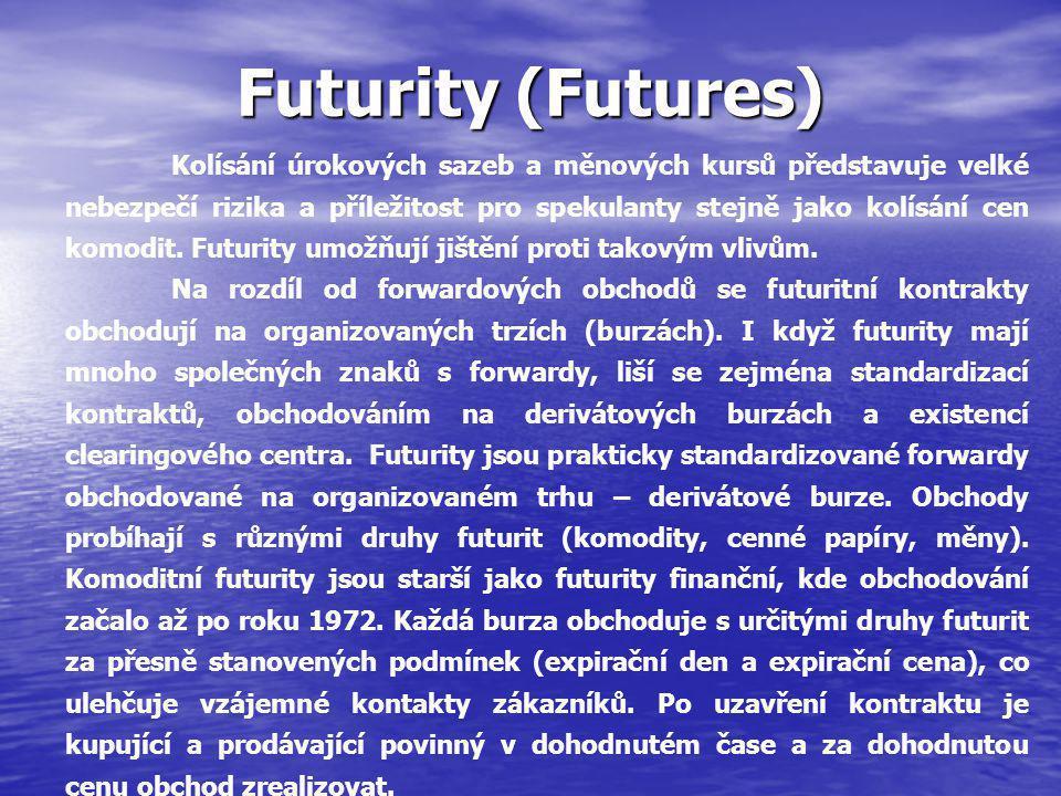 Futurity (Futures) Kolísání úrokových sazeb a měnových kursů představuje velké nebezpečí rizika a příležitost pro spekulanty stejně jako kolísání cen komodit.