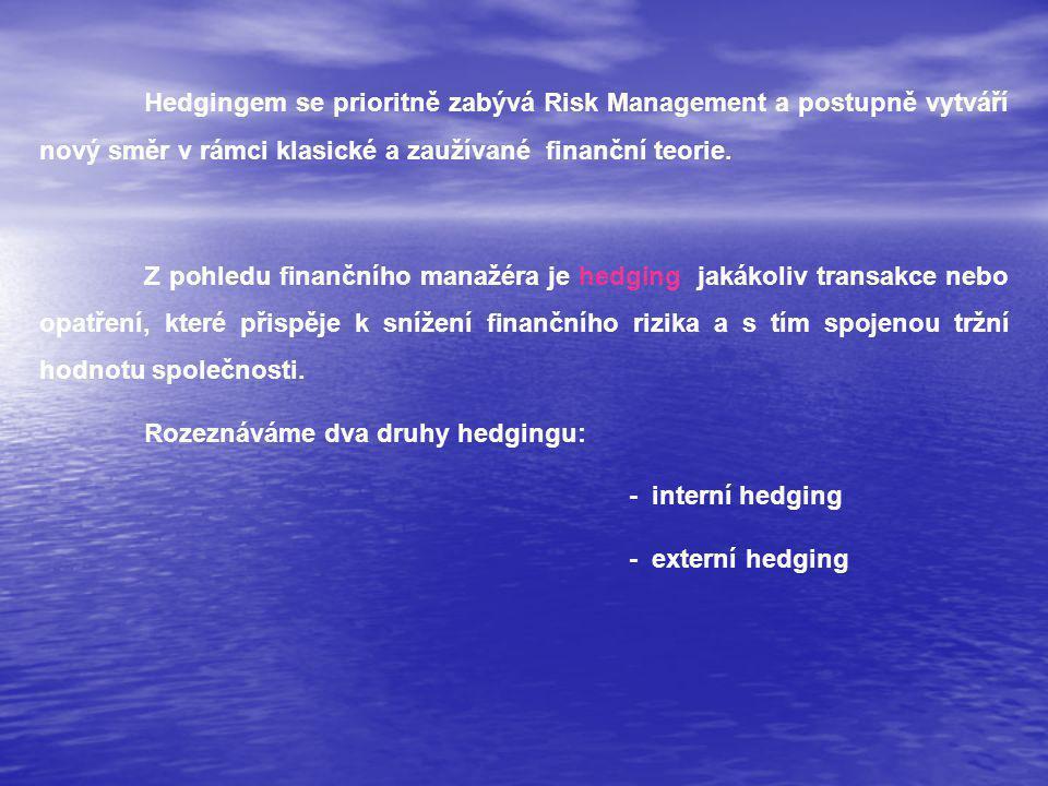 Hedgingem se prioritně zabývá Risk Management a postupně vytváří nový směr v rámci klasické a zaužívané finanční teorie.
