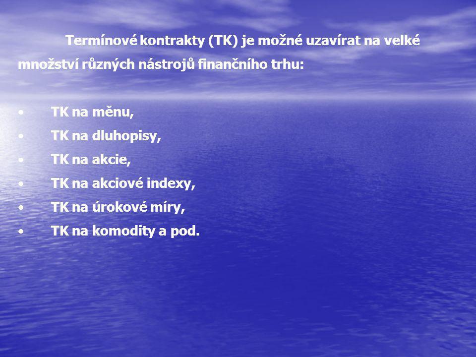 Termínové kontrakty (TK) je možné uzavírat na velké množství různých nástrojů finančního trhu: TK na měnu, TK na dluhopisy, TK na akcie, TK na akciové indexy, TK na úrokové míry, TK na komodity a pod.