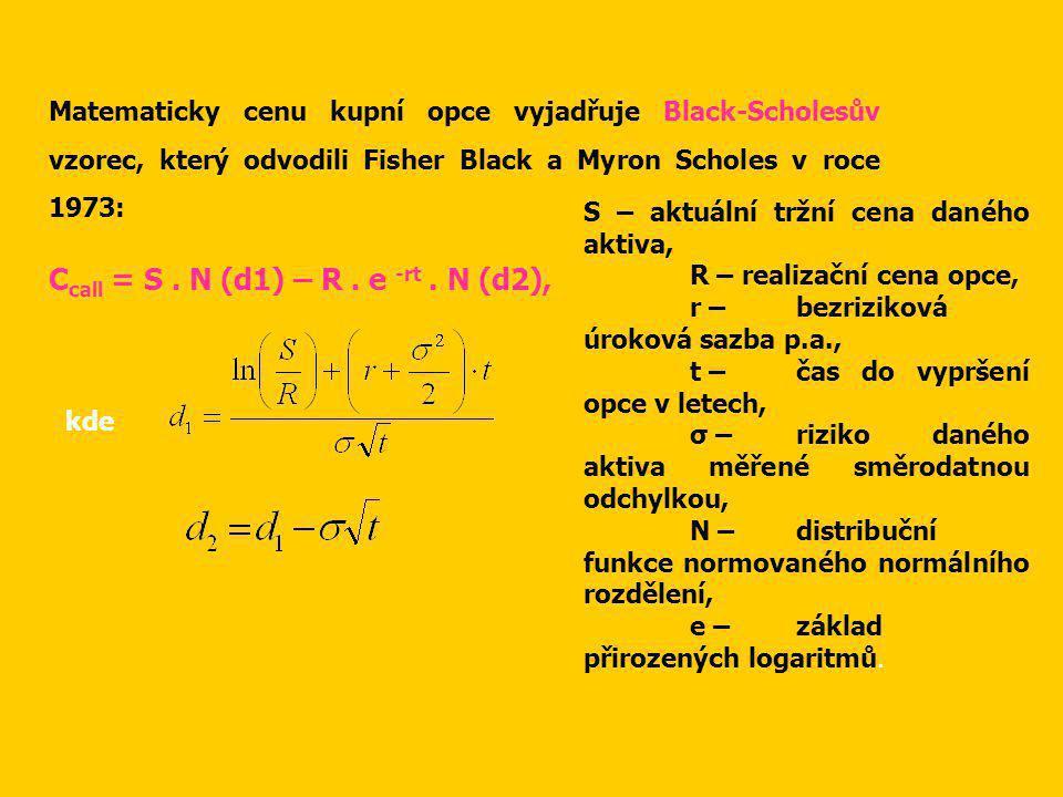Matematicky cenu kupní opce vyjadřuje Black-Scholesův vzorec, který odvodili Fisher Black a Myron Scholes v roce 1973: C call = S.