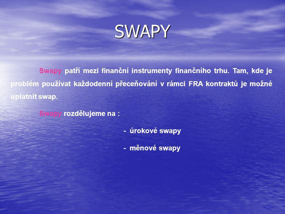 Úrokový swap Úrokový swap je dohoda o výměně dopředu známých úrokových plateb za zatím neznámé úrokové platby ve stejné měně nebo neznámých úrokových plateb za zatím neznámé úrokové platby.